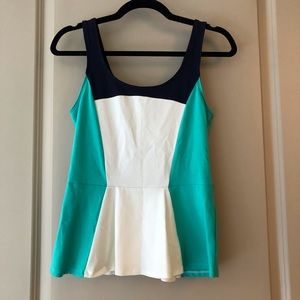 Turquoise, navy, and white peplum tank
